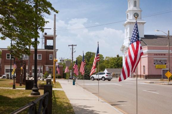 American Flags on Foxboro Common