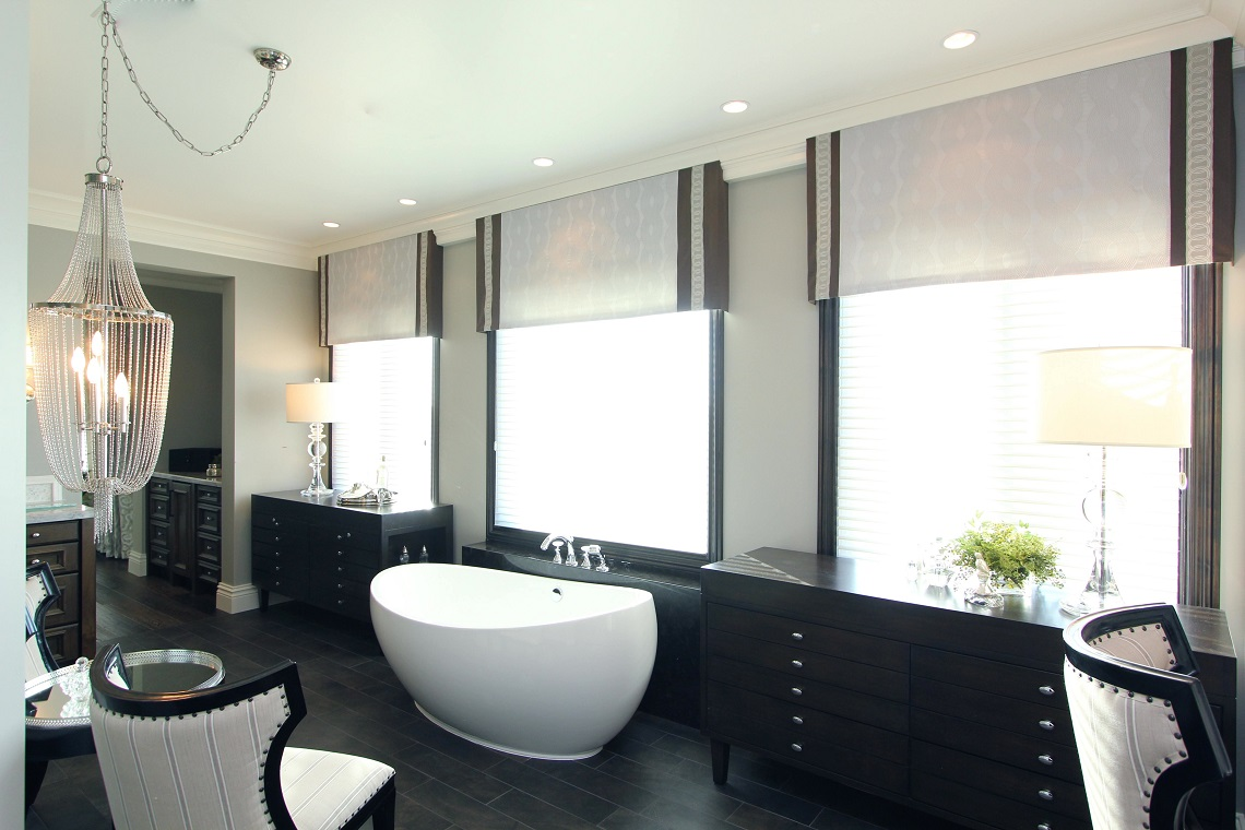 Hamptons inspired luxury home master bathroom robeson design