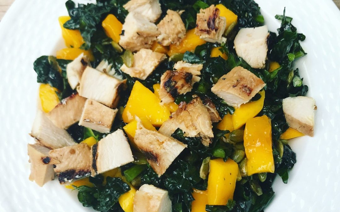 Massaged Kale and Mango Salad with Grilled Chicken