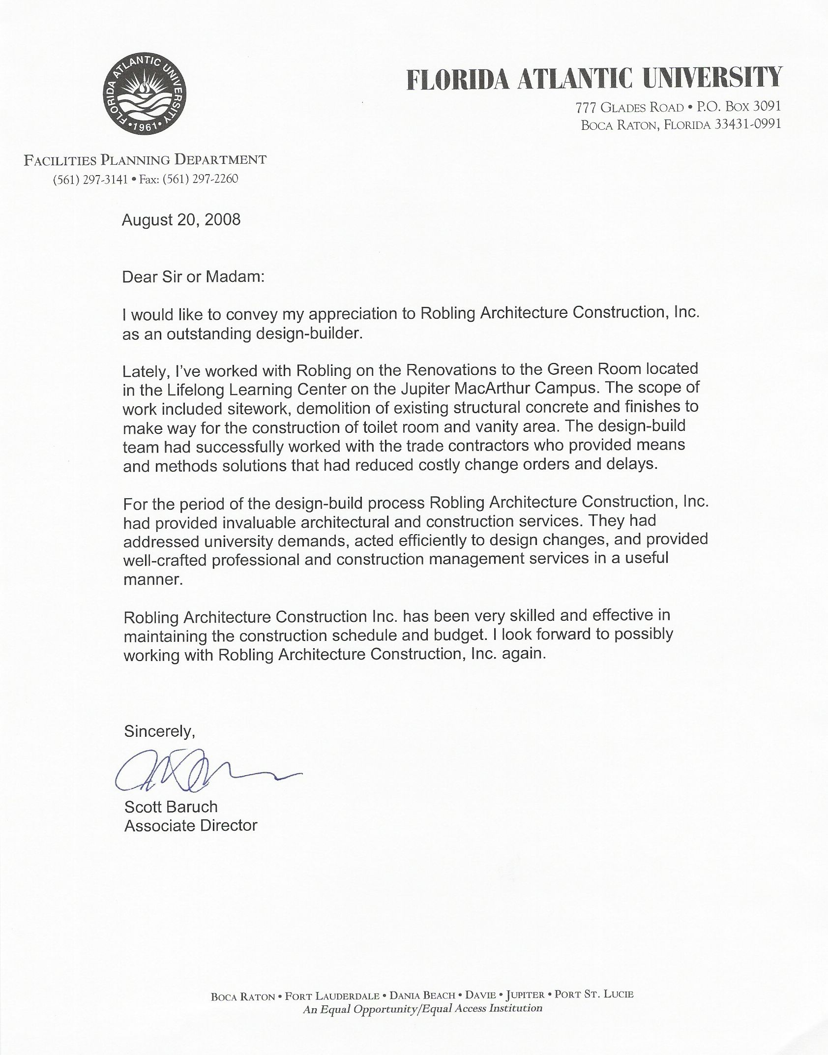 florida state university letter of recommendation