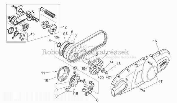 Variator - Primary Drive - APRILIA SCARABEO 125-150 - 200 Rotax