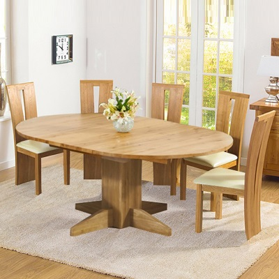 Monty Solid Oak Extending Round Dining Table With 6 Arley