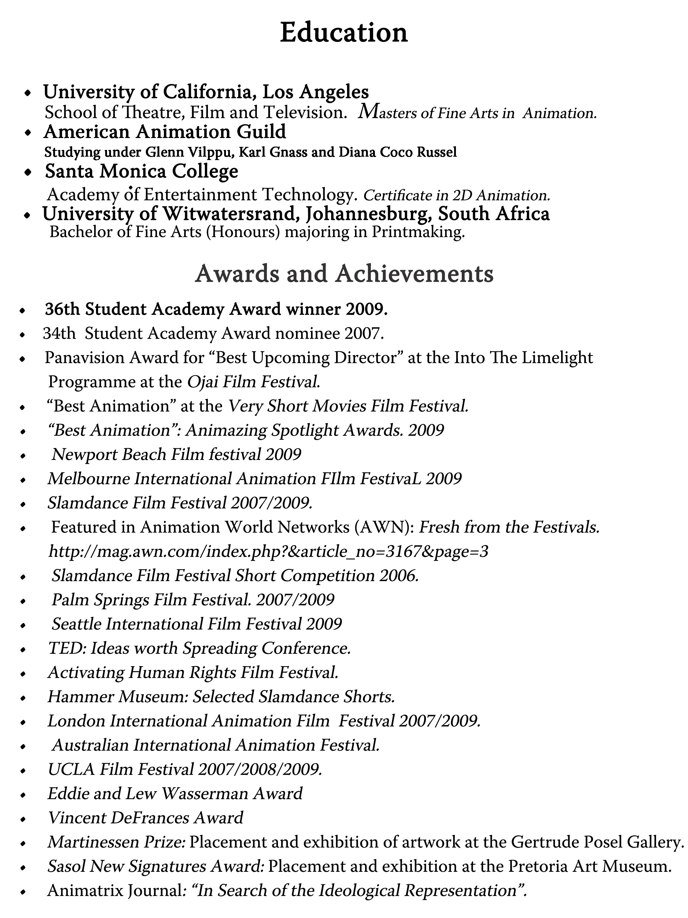 accomplishments essay