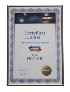 certyfikat Rocar Variant club premium