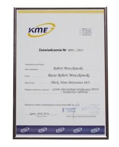 Certyfikat Rocar konfiguracji KME