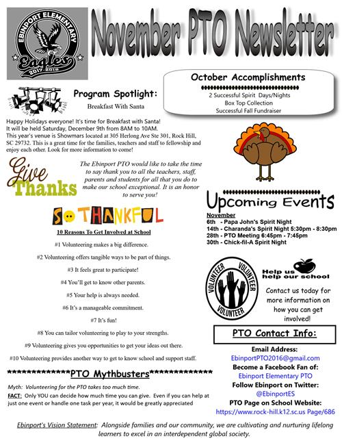 PTO (Parent Teacher Organization) / PTO Monthly Newsletter