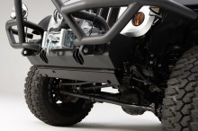 Rugged Ridge JK Wranger Front Steering Skid Plate Installed 220x146 RUGGED RIDGE INTRODUCES LINE OF SKID PLATES FOR '07 '13 JEEP® JK WRANGLER