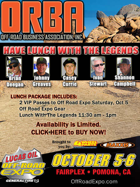 Lunch with the Legends Graphic OFF ROAD BUSINESS ASSOCIATION (ORBA) TO HOST VIP EXPERIENCE