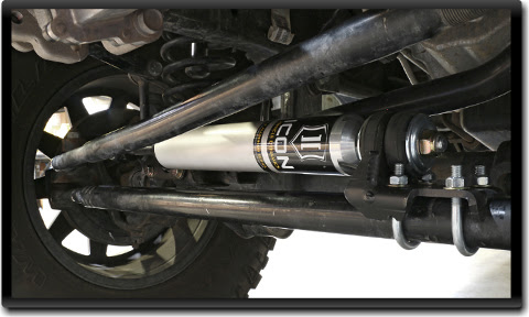 ICOM Jeep Wrangler JK Steering Stabilizer installed ICON 2007 UP Jeep JK Steering Stabilizer Kit