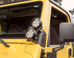 Rugged Ridge TJ Dual A-Pillar Light Mount - Closeup