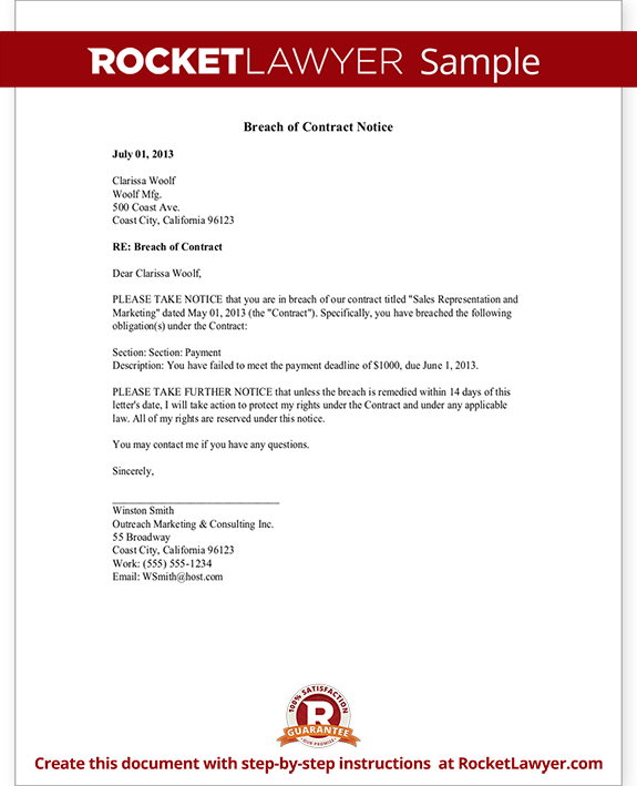Legal Information About Landlord And Tenant Law In Alberta Breach Of Contract Notice Letter And Sample