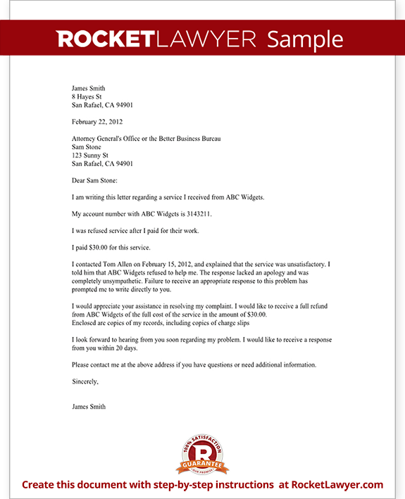 Legal Letter Template Complaint | Cover Letter And Resume Samples ...