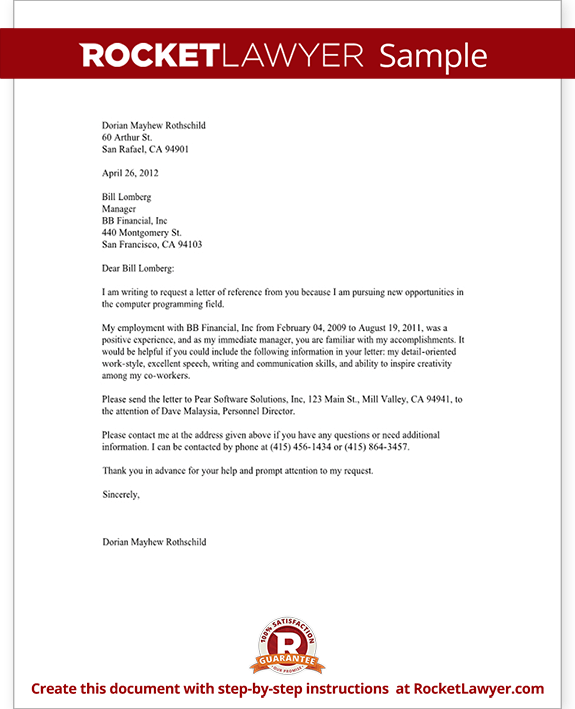 Reference Letter Previous Employer Sample | Best Online Resume