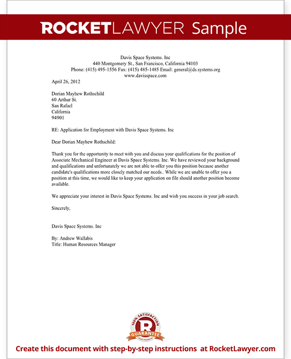 Sample Job Rejection Letter Example Good Resume Template