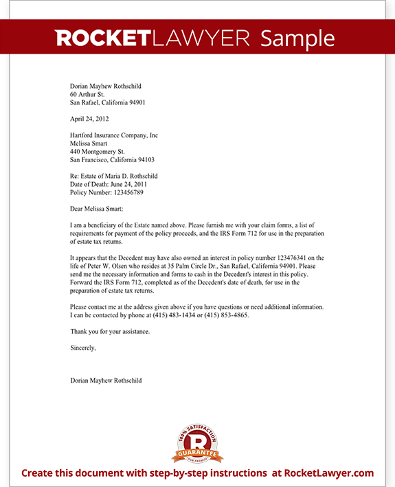Sample Letter Of Appeal For A Health Insurance Claim Life Insurance Proceeds Letter Template With Sample