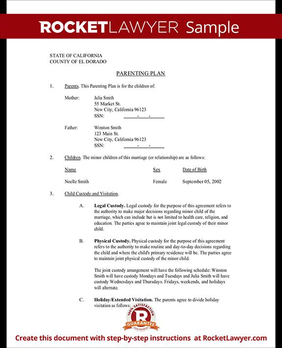 custody agreement letter