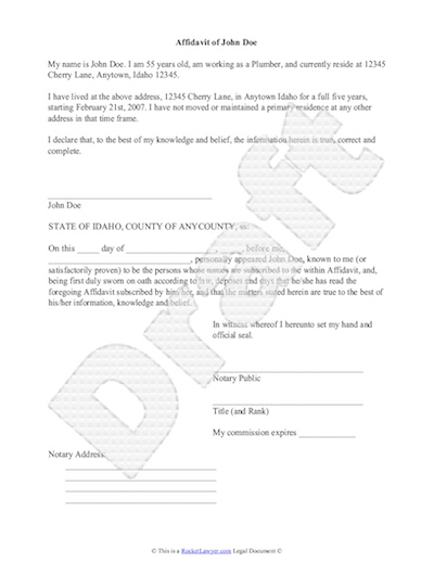 Sample Affidavit - Free Sworn Affidavit Letter, Template, Format - printable affidavit form