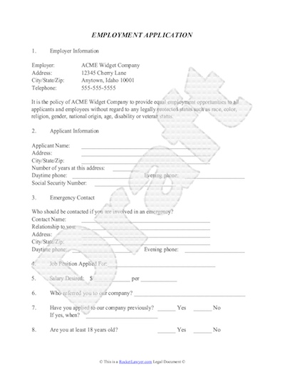 Employment Application Template - Free Job Application Sample - Job Application Template