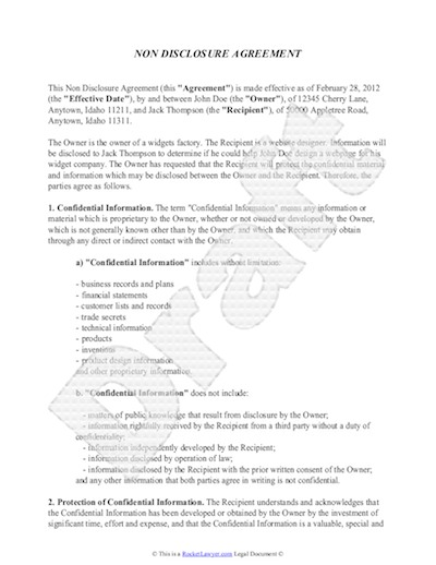 Non Disclosure Agreement Template - Free Sample NDA Template