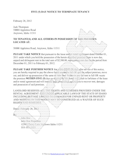 Sample Eviction Notice - Free Notice of Eviction Letter Template