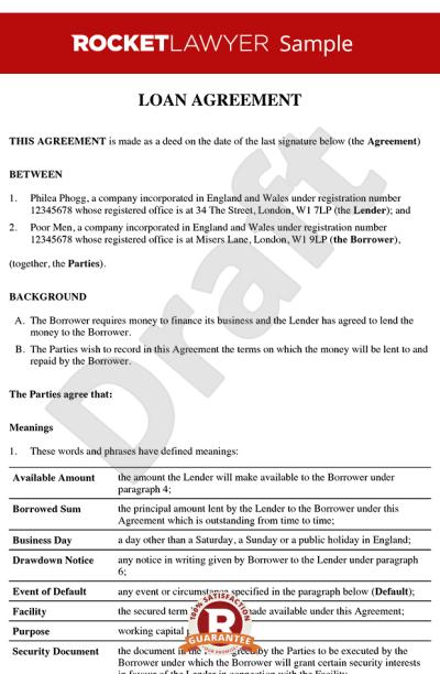 Loan Agreement - Loan Contract - Loan Agreement Template