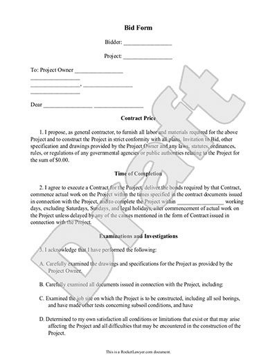 Bid Form - Bid Proposal Template for Contractor \ Construction - formal proposal example