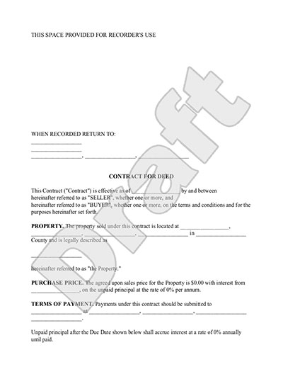 Contract for Deed Form - Land Contract Template with Sample - person to person loan contract