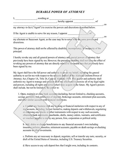 Sample General Power Of Attorney Form Durable Power Of Attorney - general power of attorney forms