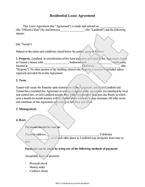 Lease Agreement - Free Rental Agreement Form, Contract - rental lease agreement