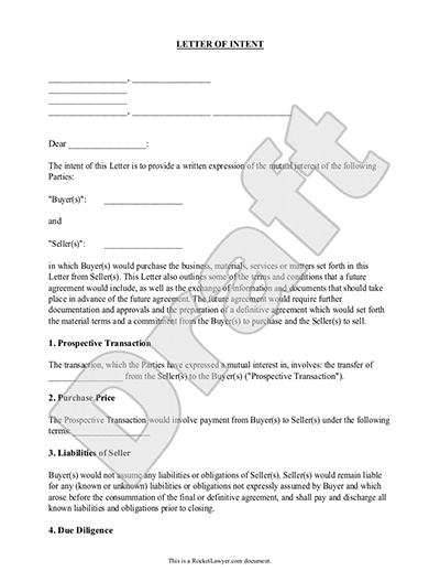 Letter of Intent for Business, Purchase - Sample, Template - agreement letter