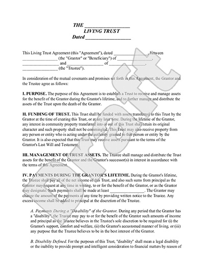 Living Trust Form - Sample Living Trust Template \ Definition - living trust form