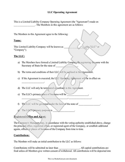 LLC Operating Agreement - Sample \ Template - business operating agreement