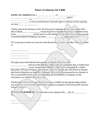 Power Of Attorney For Child Form Rocket Lawyer - temporary guardianship form