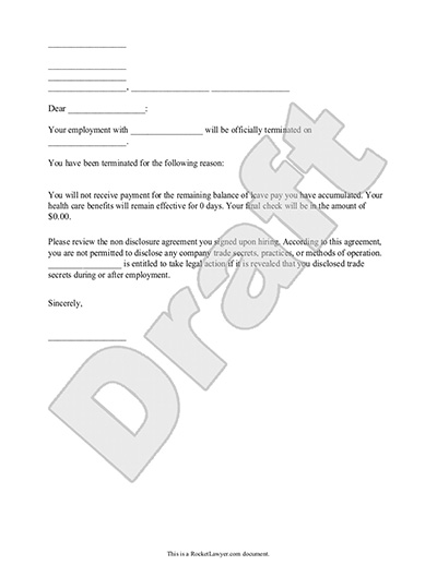 Termination Letter for Employee Template (with Sample) - job termination letter