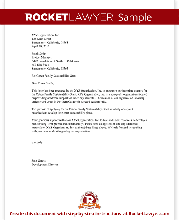 Sample Letter Of Intent For A Grant Sophisticated Edge Letter Of Intent For Grant For Non Profit Template With