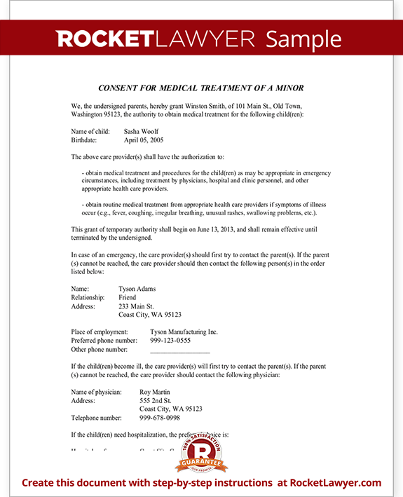 medical consent letter for grandparents