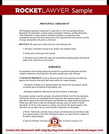 Prenuptial Agreement Form Prenup Template Rocket Lawyer