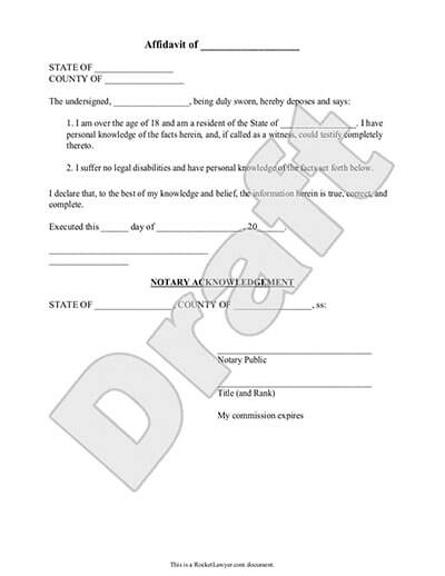 Affidavit Form General Affidavit Template Rocket Lawyer - Free Affidavit Forms Online