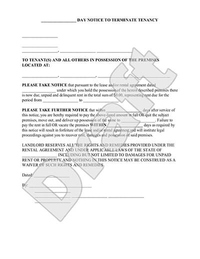 Eviction Notice Form 3,5,7, or 30 Day Notice to Vacate Letter to