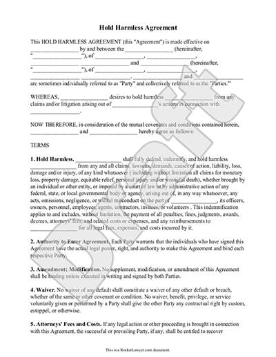 Hold Harmless Agreement Template and Definition Rocket Lawyer - Free Affidavit Forms Online