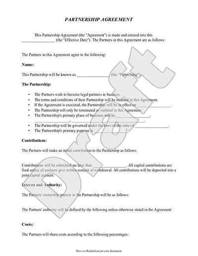 Partnership Agreements Business Partnerships Rocket Lawyer - Partnership Agreement Format