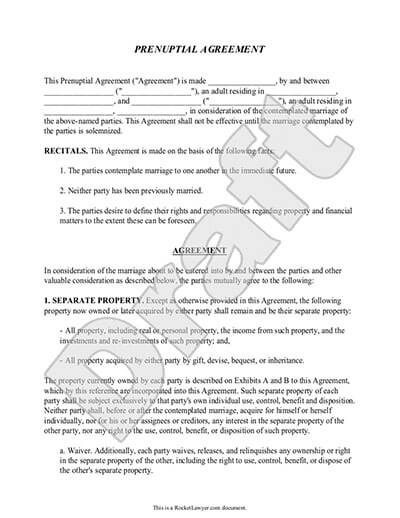 Prenuptial Agreement Form Prenup Template Rocket Lawyer - sample agreements