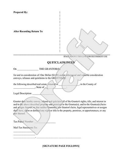 Quitclaim Deed Form - Free Quitclaim Deed Template (with Sample) - Quick Claim Deed