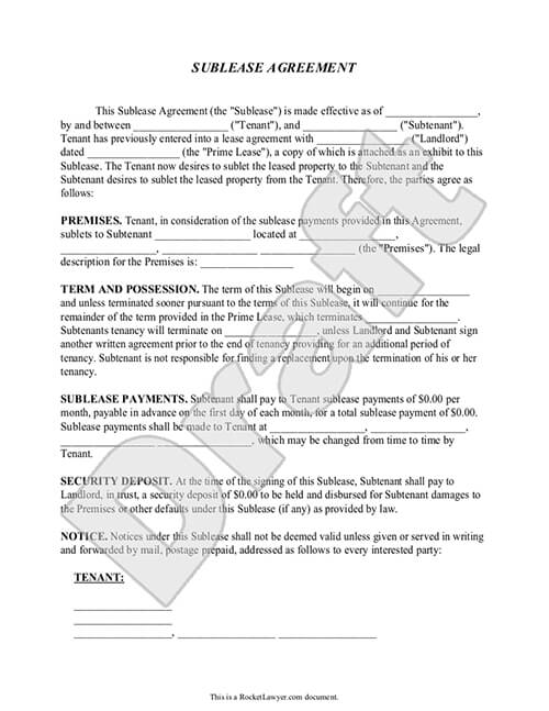 Sublease Contract Form Sublease Agreement Template Rocket Lawyer - Sample Sublease Agreement