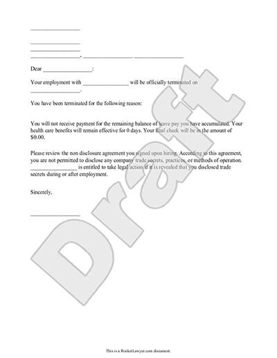 Termination Letter for Employee Template (with Sample) - termination notice template