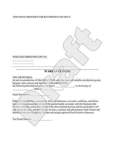 Warranty Deed Form - General Warranty Deed Template - sample deed of trust form