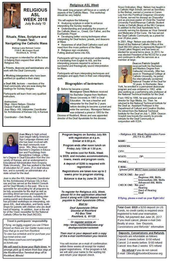 RASL Week Deaf Apostolate of the Rockford Diocese - religious brochure