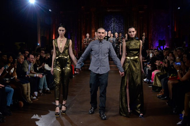NEW YORK, NY - FEBRUARY 17: Designer Mr. Triple X models walks the runway at Mister Triple X show during Art Hearts Fashion NYFW Fall/Winter 2016 at The Angel Orensanz Foundation on February 17, 2016 in New York City. (Photo by Kris Connor/Getty Images For Art Hearts Fashion)