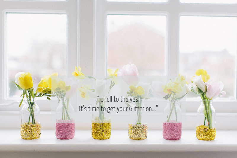 Glitter Jar DIY D.I.Y Glitterific Bud Vases.