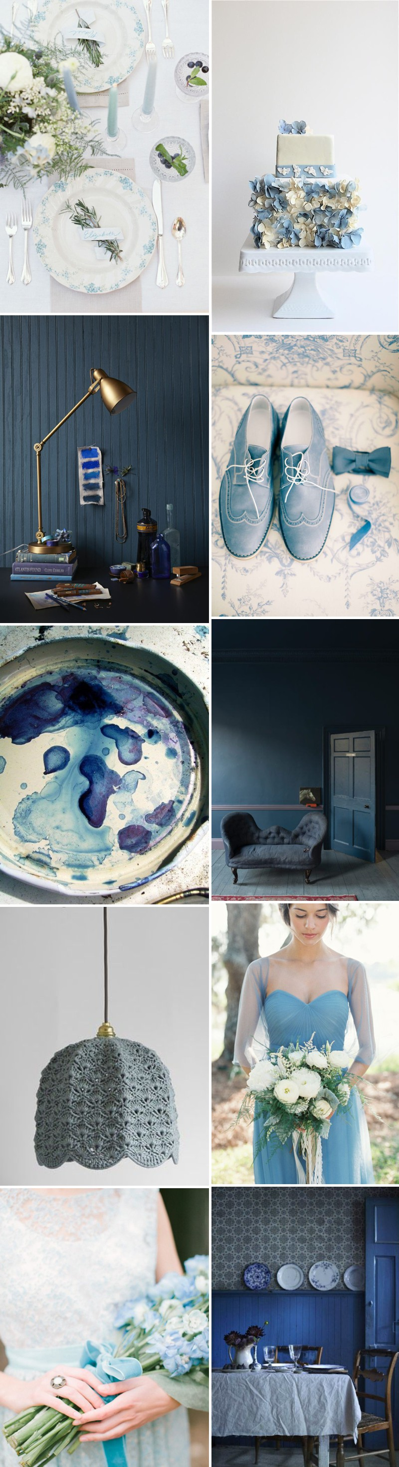 An Inspiration Mood Board For A Blue Colour Scheme Themed Wedding. 0001 Hues Of Blue.